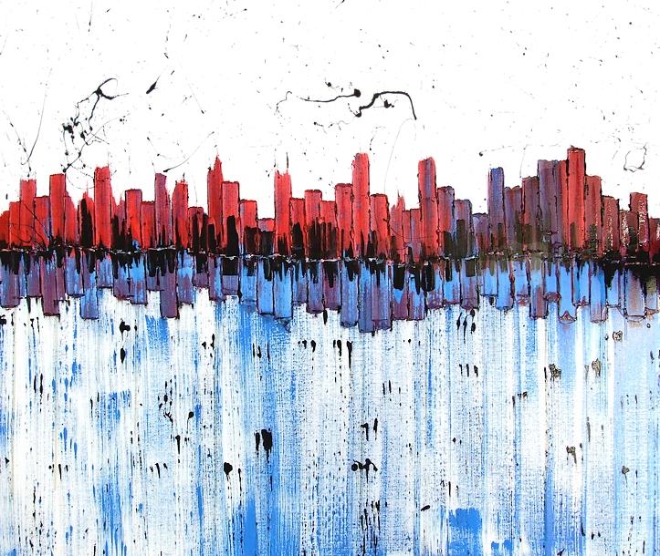 Dipinto moderno dal titolo new york allo specchio - Quadri a specchio moderni ...