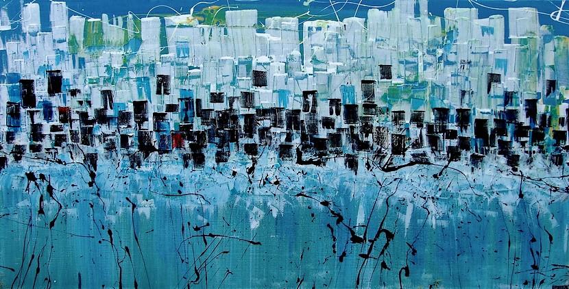 Mareggiata a new york goa quadri moderni for Dipinti a mano su tela