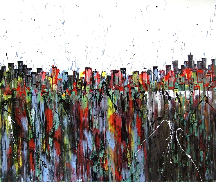 "QUADRO DRIPPING E ACTION PAINTING BY ARTIST GOA, DAL TITOLO ""NEW YORK NEW YORK"""
